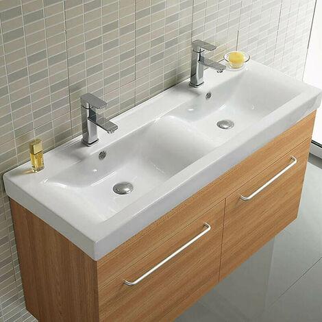 Lavabo à Poser Double Vasque - Céramique Blanc - 120x46 cm - Essentiel