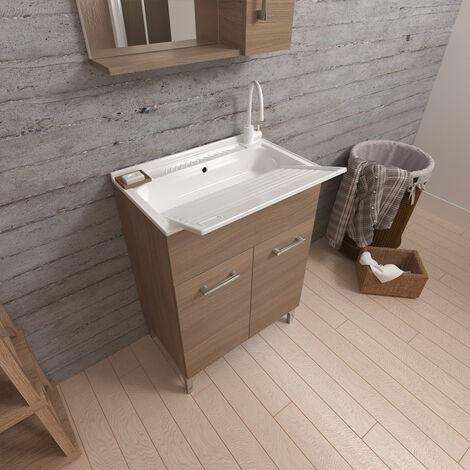Lavabo avec évier, mobile 2 portes 60x50 cm Hornavan Oak