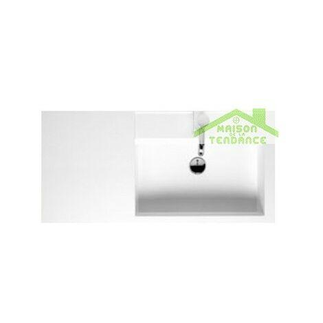 Lavabo blanc droite à 1 trou en marbre RIHO BOLOGNA 100x48 cm
