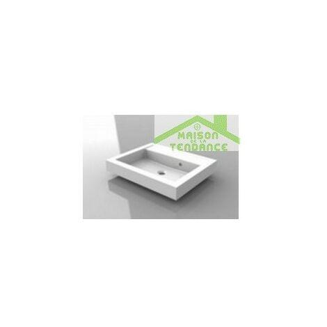 Lavabo blanc sans trou en marbre RIHO BOLOGNA 60x48 cm