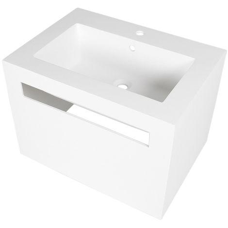 Lavabo blanco cuadrado de resina