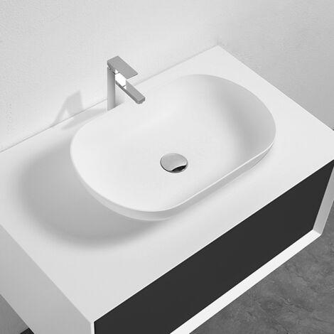 Lavabo BLANCO MATE sobre encimera ovalado PALIO de mármol cultivado