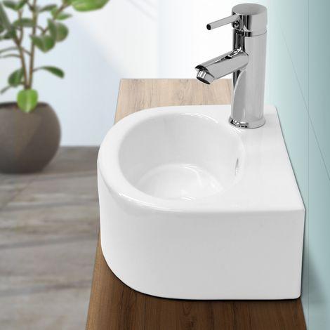 Lavabo cerámica baño cerámica pila lavamanos sobre encimera aseo 335x255x130mm
