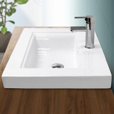 Lavabo cerámica baño pila lavamanos empotrable aseo integrado blanco 605x465 mm
