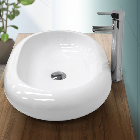 Lavabo cerámica baño pila lavamanos ovalada aseo sobre encimera blanco 630x420mm