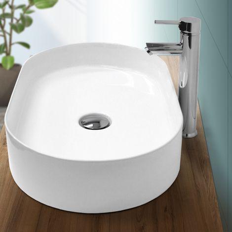 Lavabo cerámica baño pila lavamanos ovalado aseo sobre encimera blanco 605x380mm