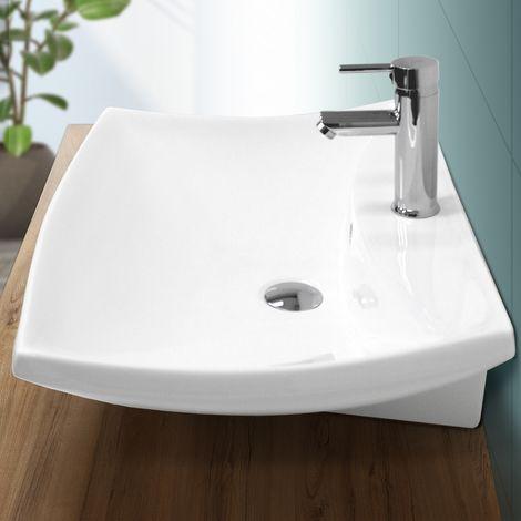Lavabo cerámica sobre encimera pila lavamanos común aseo baño blanco 605x460 mm