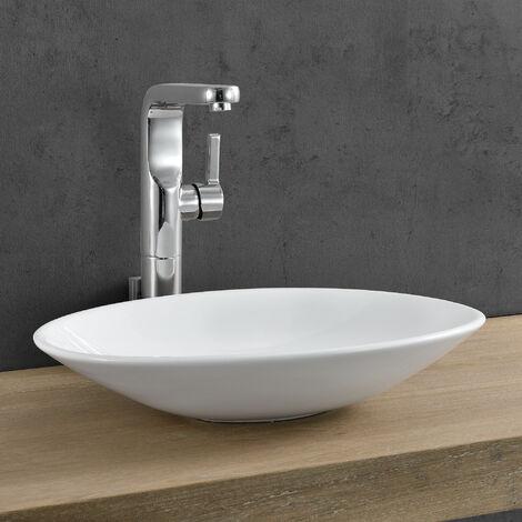 Lavabo cerámico lujoso en forma ovalada - (50x35,5cm) Blanco - lavabo sobre encimera