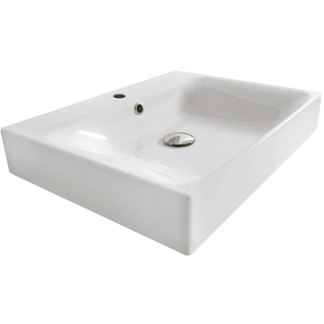 Lavabo céramique Cento à poser ou à suspendre 60-45 cm - Ondyna WCE6045