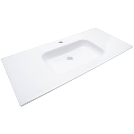Lavabo ceramique simple vasque blanc a poser 100 cm 1 bac salle de bain 9100kn - Vasque salle de bain 100 cm ...