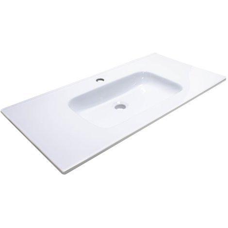 Lavabo ceramique simple vasque blanc a poser 90 cm 1 bac salle de bain