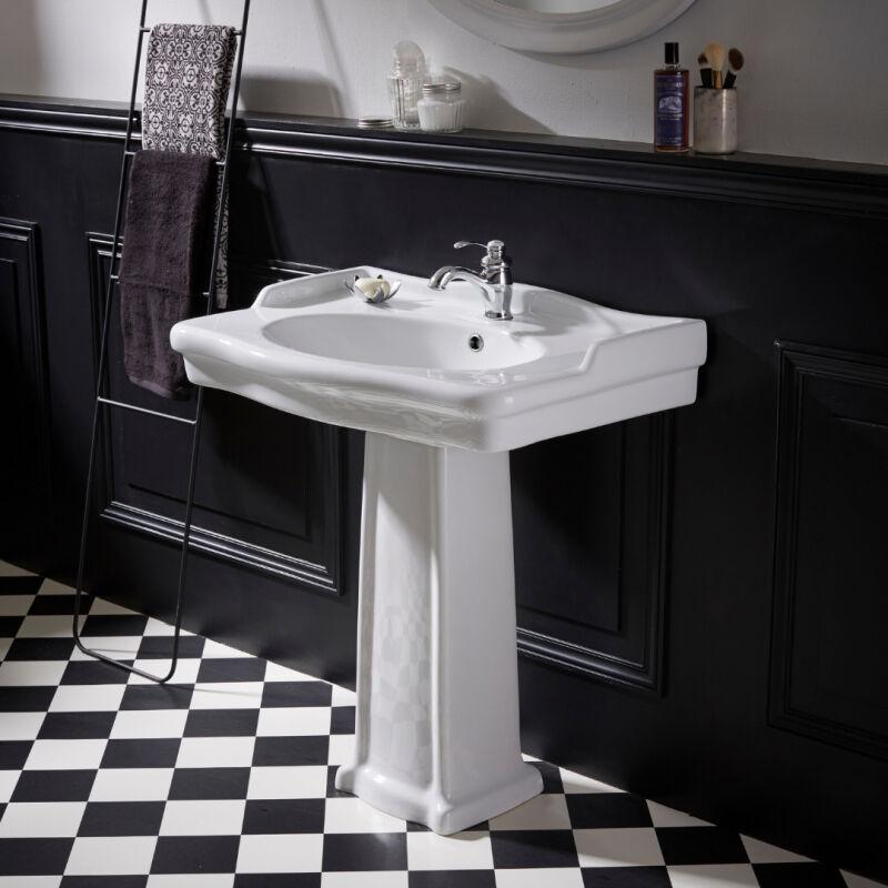 Lavabo colonne époque rétro blanc