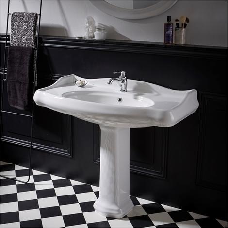 Lavabo colonne rétro 100 cm en céramique blanc