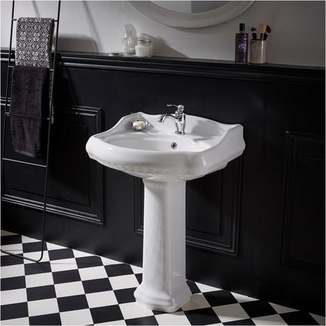 Lavabo colonne rétro 60 cm en céramique blanc