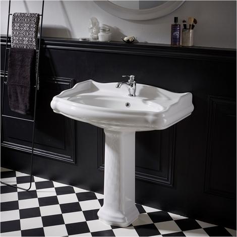 Lavabo colonne rétro 80 cm en céramique blanc