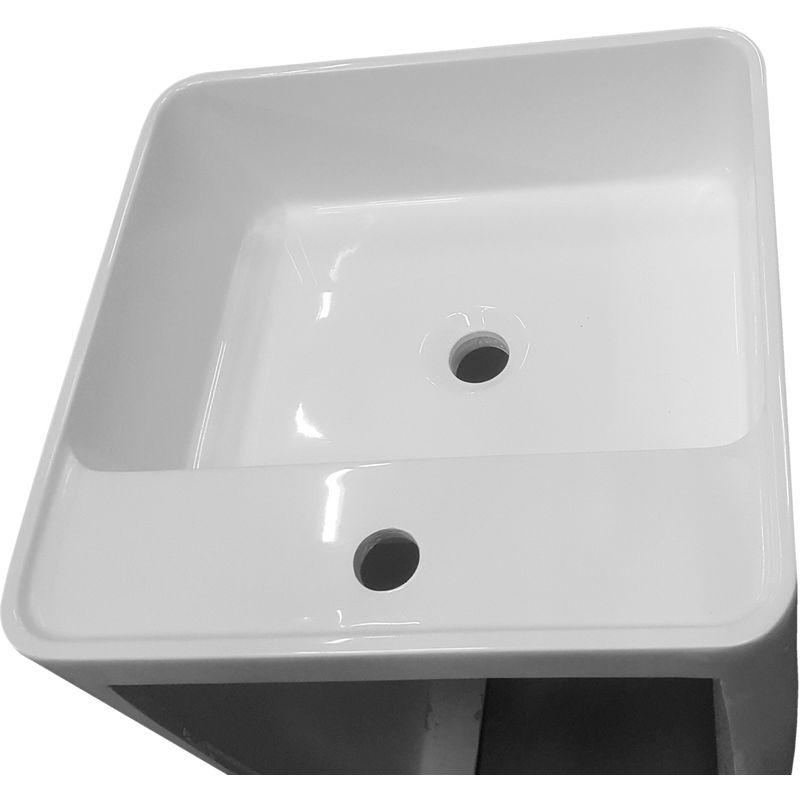 Lavabo Colonne Totem Blanc Bs458 En Solid Surface 45 X 45 X 82 Cm