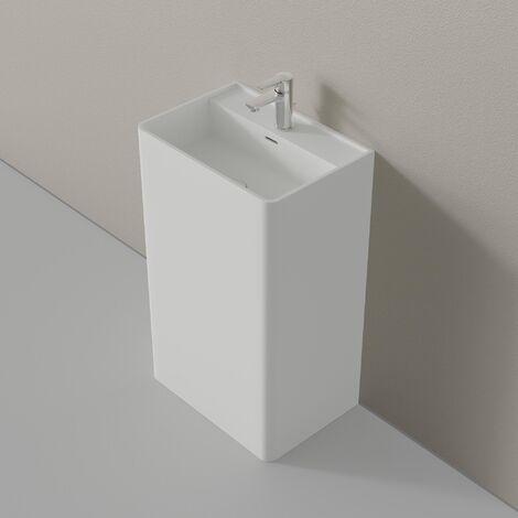 Lavabo colonne totem TWZ26 en pierre solide (Solid Stone) - en blanc ou en noir - 50x36x85cm