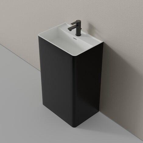 Lavabo colonne totem TWZ26 en pierre solide (Solid Stone) - en blanc ou en noir - 50x36x85cm : Noir (brillant)