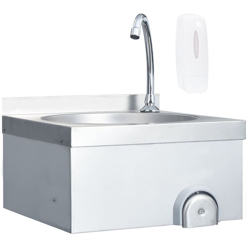 Lavabo de lavage avec robinet et distributeur de savon Inox