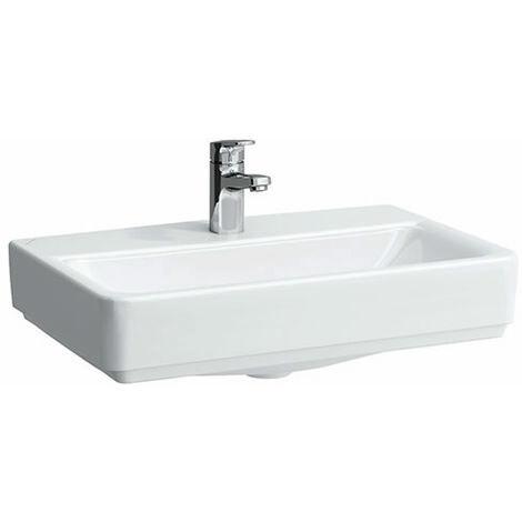 Lavabo compacto de sobre encimera Running PRO S, 1 agujero para grifo, con rebosadero, modelo US gesch, 550x380, blanco, color: Blanco - H8179580001041