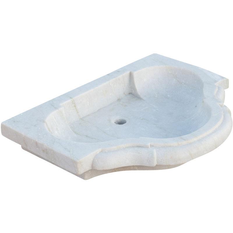 Lavabo con mármol con efecto blanco envejecido L77xPR55xH13 cm - BISCOTTINI