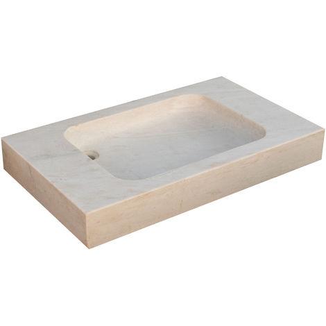 Lavabo con mármol con efecto blanco envejecido L89xPR52xH13 cm