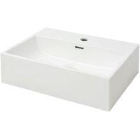 Lavabo con orificio para grifo cerámica 51,5x38,5x15 cm blanco