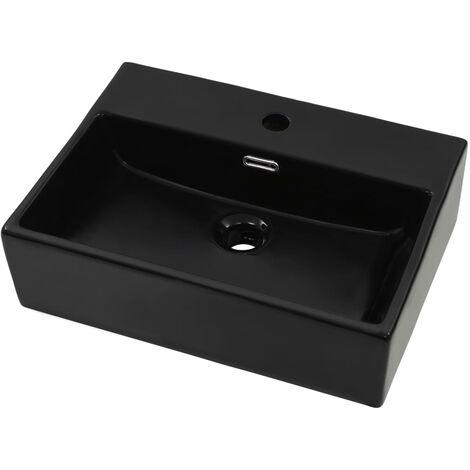 Lavabo con orificio para grifo cerámica negro 51,5x38,5x15 cm