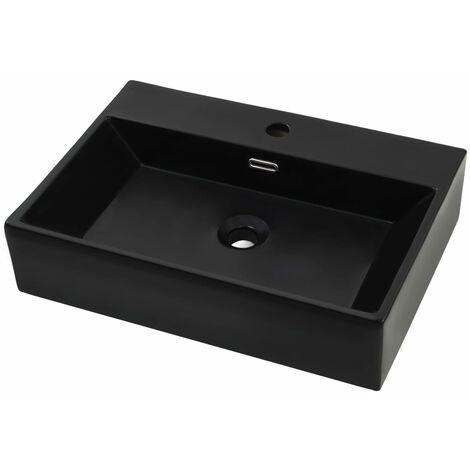 Lavabo con orificio para grifo cerámica negro 60,5x42,5x14,5 cm