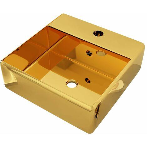 Lavabo con rebosadero 41x41x15 cm cerámica dorado