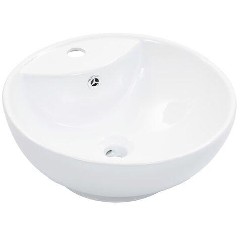 Lavabo con rebosadero 46,5x18 cm cerámica blanco