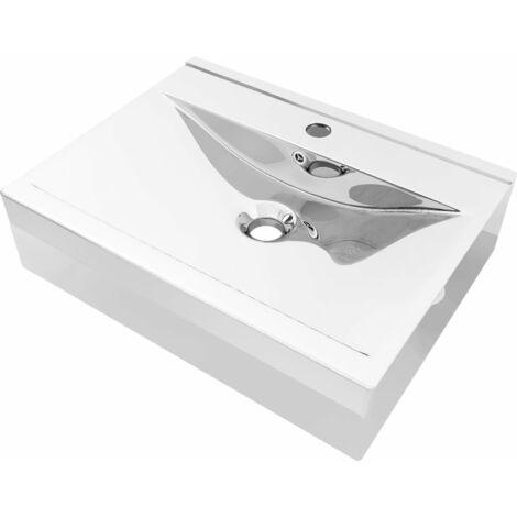 Lavabo con rebosadero 60x46x16 cm cerámica plateado