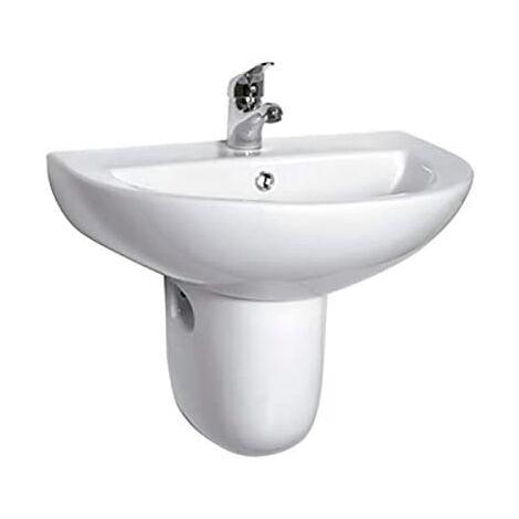 Lavabo con semipedestal BATA redondo y muy económico de cerámica suspendido.