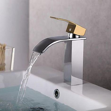 Lavabo contemporáneo con acabado en cascada acabado en oro y plata