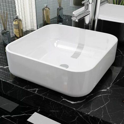 Lavabo cuadrado de ceramica 38x38x13,5 cm cm blanco