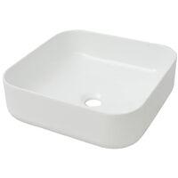 Lavabo cuadrado de cerámica 38x38x13,5 cm cm blanco