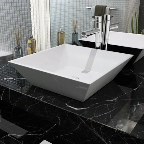 17b14fece363 Lavabo cuadrado de cerámica 41,5x41,5x12 cm blanco -