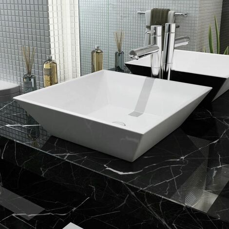 Lavabo cuadrado de ceramica 41,5x41,5x12 cm blanco