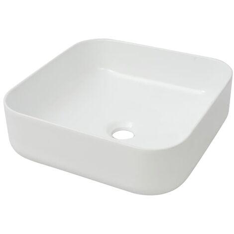 Lavabo cuadrado de cerámica blanco 38x38x13,5 cm