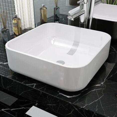 Lavabo cuadrado de cerámica blanco 38x38x13,5 cm - Blanco