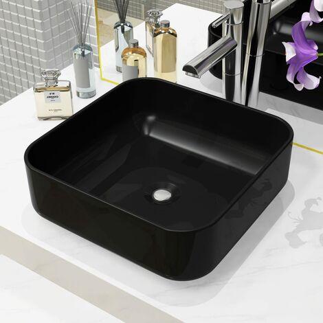 Lavabo cuadrado de cerámica negro 38x38x13,5 cm - Negro