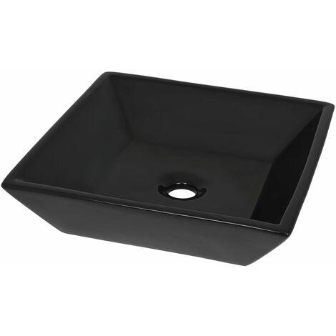 Lavabo cuadrado de cerámica negro 41,5x41,5x12 cm