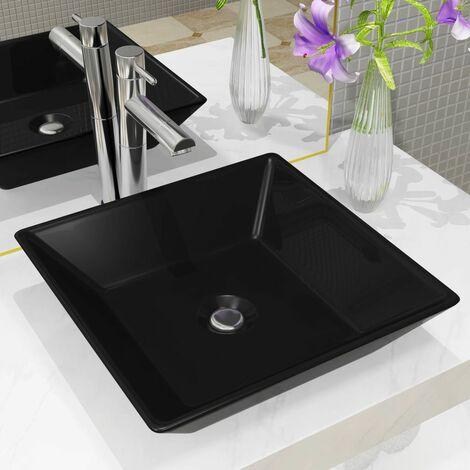 Lavabo cuadrado de ceramica negro 41,5x41,5x12 cm