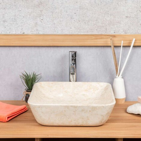 lavabo cuadrado de mármol cuarto de baño Carmen 40 cm crema