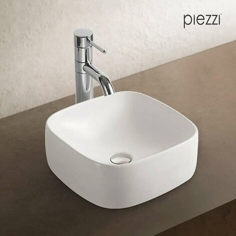 Lavabo cuadrado en cerámica blanca - Xela