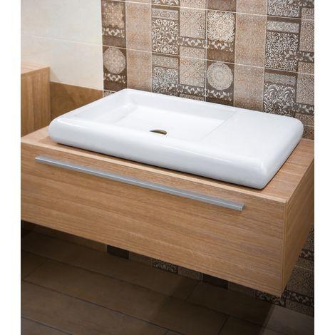 Bagni E Sanitari Moderni.Lavabo Da Appoggio 79 X 42 Cm Ceramica Sanitari Bagni Moderni Rettangolare