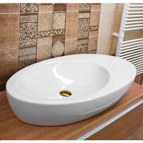 Sanitari In Ceramica Per Bagno.Lavabo Da Appoggio 90 X 46 Cm Ceramica Sanitari Bagni Moderni Circolare