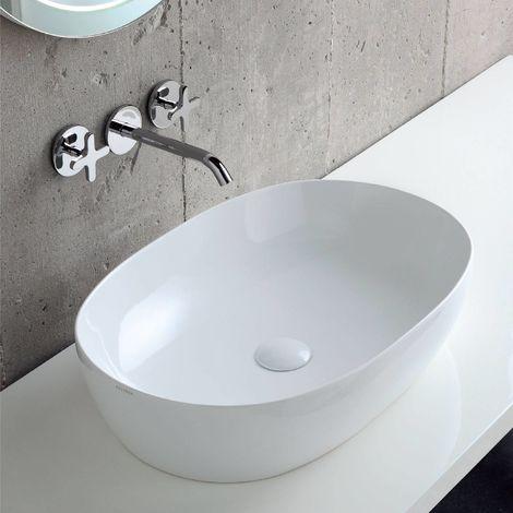 Lavabo Nuvola Azzurra Ceramica.Lavabo Da Appoggio In Ceramica 60 Cm Comoda Azzurra Ceramica Bianco