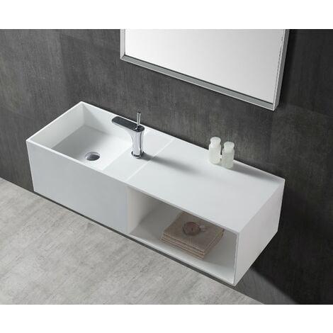 Lavabo da appoggio o sospeso TWG36 di pietra artificiale (Solid Stone) con  spaziosa mensola inferiore - 110x40x30cm