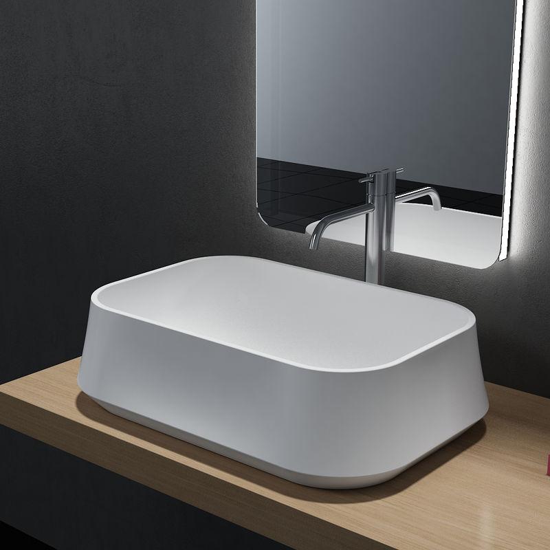 Lavabo da appoggio PB2161 in pietra solida (Solid Stone) – 60 x 42 x 16 cm  – in bianco opaco o lucido